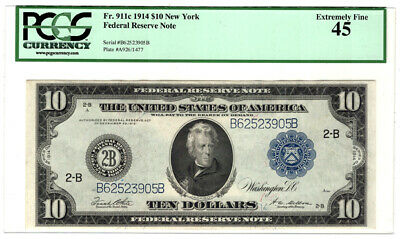1914 $10 New York Federal Reserve Bank Note Fr 911c PCGS Extremely Fine 45 Y4739