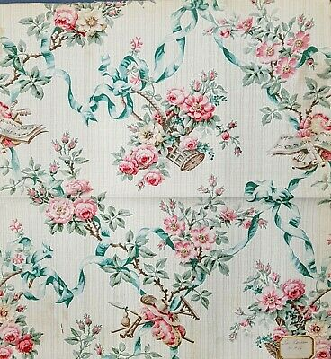 Antique French Printed Cotton Textile, Romantic, Very good condition 1904