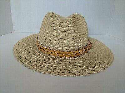 215d873c0d698 Columbia Fedora Style Natural Straw Hat with Leather Band Flexible Cowboy L    XL