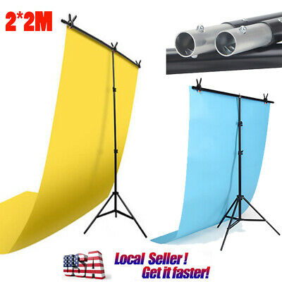 2*2m Adjustable Background Support Stand Photo Video Backdrop Kit Photography US