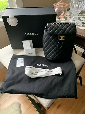 d7ae22bf660fe3 Authentic 2018 Chanel Black Quilted Urban Spirit Backpack Small w/ GHW  Calfskin