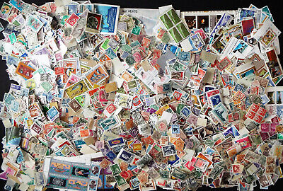 1 Pound + Envelope Of Thousands Worldwide Off Paper Stamps Mint And Used