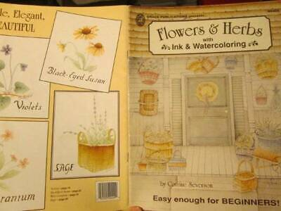 Flowers & Herbs With Ink & Watercoloring Book-Corrine Severson
