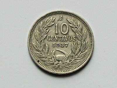 Chile 1937 10 CENTAVOS Coin with Toned-Lustre & Condor Bird Animal