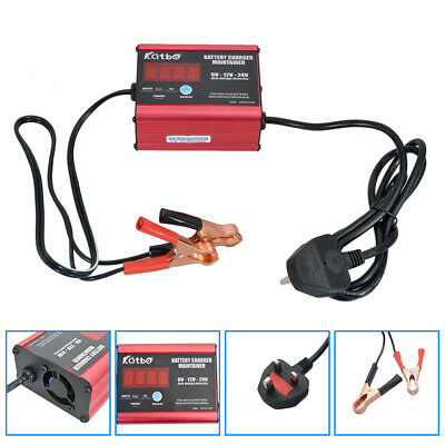 12/24V Car Battery Charger Full Automatic Intelligent Pulse Repair Type UK