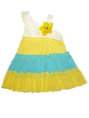76d5bd5a2d0 Infant Girls White Yellow   Blue Sundress Tiered Sleeveless Summer Dress 12M