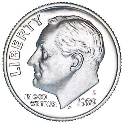 1989 S Roosevelt Dime Gem Deep Cameo CN-Clad Proof US Coin
