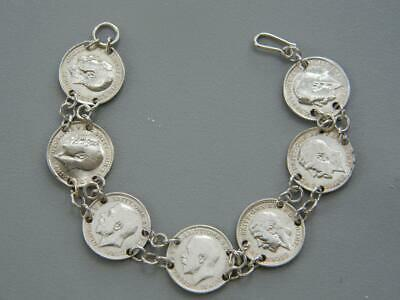 Antique 1916-1934 British 3 Pence Sterling Silver Coin Bracelet 6.75""