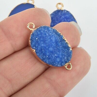 2 ROYAL BLUE Faux Druzy Connector Charms Oval Resin with Gold Plated chs5791