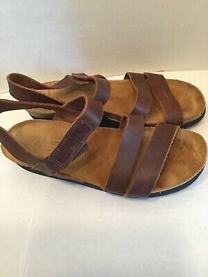 e62d07cc7e91 Womens Naot Kayla Tan Leather Ankle Strap Wedge Sandals Shoes Size 39 US 8