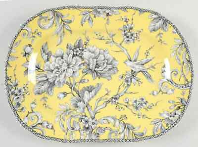 "222 Fifth ADELAIDE-YELLOW 14"" Oval Serving Platter 9437407"