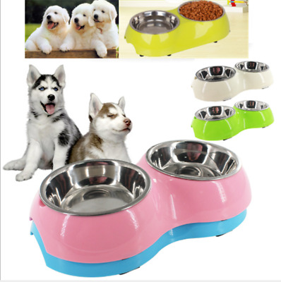 Pet Dog Cat Stainless Steel Feeder Feeding Food Water Dual Bowl for Puppy UK