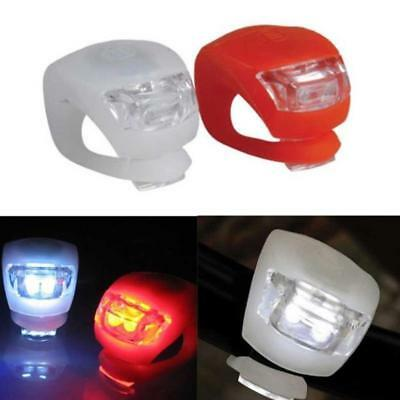 Silicone Bicycle Bike Cycle Safety LED Head Front Rear Tail Light Lamps