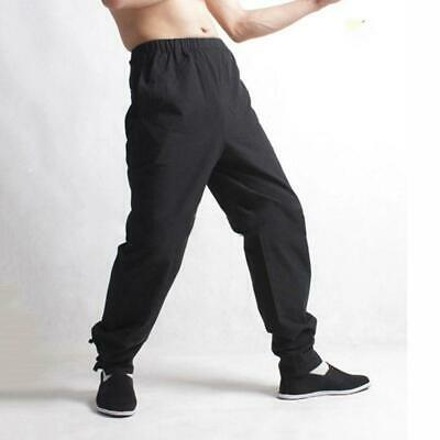 Mens Loose Comfy Pants Chinese Kung Fu Tai Ji Leisure Drawstring Sport Trousers