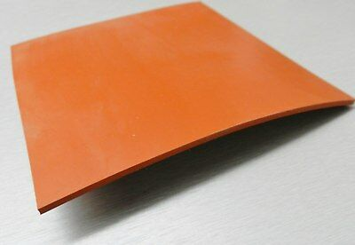"Silicone Rubber Sheet High Temp Solid Red/Orange Commercial Grade 14"" x14"" x1/4"""