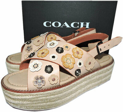 13297299e98  298 COACH Beechwood Tea Rose Leather Espadrilles Sandals Shoes 11 Flat  Platform