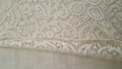 """Quaker lace off white floral tablecloth 60"""" x 80"""" stained vintage"""
