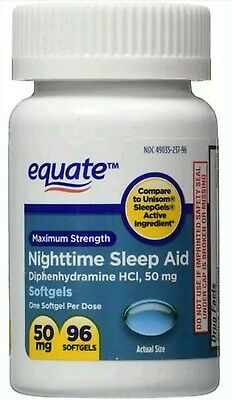 Equate - Nighttime Sleep Aid 50 mg, Maximum Strength, 96 Softgels