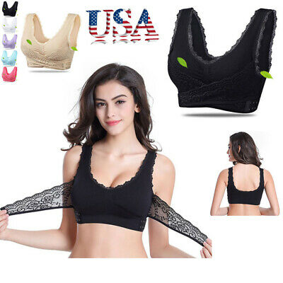 Women LADY Sexy Front Cross Adjustable Side Buckle Lace Vest Wireless Sport Bra