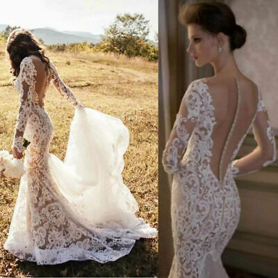 b803e94dcd23e Mermaid Tail Wedding Dress Long Sleeves Sheer Back Bridal Gown Lace Applique