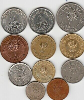11 different world coins from BAHRAIN