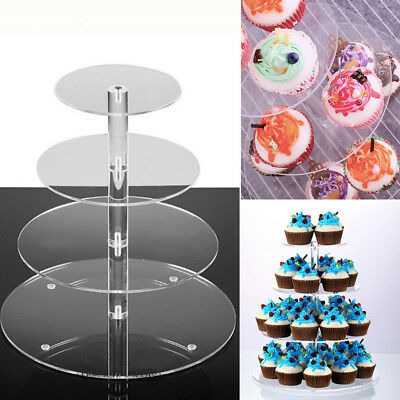 4 Tier Acrylic CupCake Stands Display Cake Rack Toppers Tower Shelf Party Clear