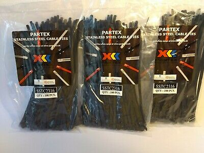 300  x  PARTEX SSTC 2316 stainless steel cable ties