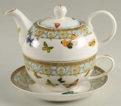Grace's Teaware BLUE BUTTERFLY Individual Tea Pot With Cup & Saucer 10584187
