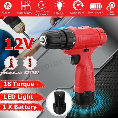 12V Electric Cordless Impact Drill One Li-ion Battery LED Level 18-Speed Torque