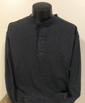 6cc6342708f05 POLO SPORT RALPH LAUREN Gray   Black Heavy 2 Button Shirt Long Sleeve Men s  LARG