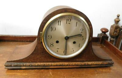 napoleon oak cased striking mantel clock
