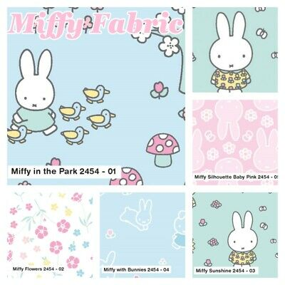 Easter Miffy Fabric with Bunnies Blue 100/% Cotton Licensed