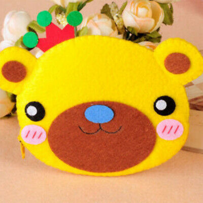 Bear Coin Purse Wallet Sewing Felt Applique Kit For Kids Girls Felt Craft