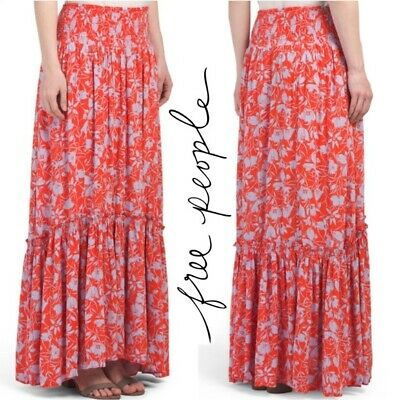 6c481ed7cd Free People Way Of The Wind Maxi Skirt In Orange Floral Tomato Combo S  NWT$128