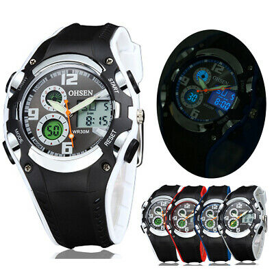 OHSEN Mens Women LED Backlight Waterproof Alarm 3 Dial Digital Sport Wrist Watch