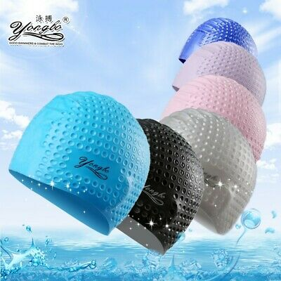ADULT SWIMMING HAT + CARRY CASE Silicone Pool Beach Swim Head Cap UK 1 Day