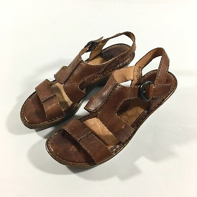 421cc62cef59 Born Women s Size 10 Clog Sandal Brown Leather Open Toe Ankle Strap Buckle