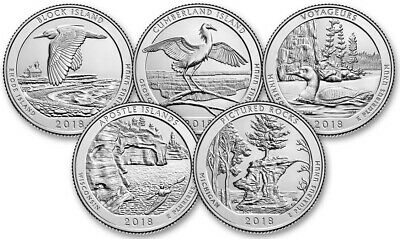 2018 PDS America The Beautiful Quarters 15pc set, all 15 clad coins all 3 mints