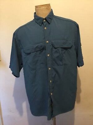 e30d66595955 REI Mens Blue Solid Long Sleeve Vented Button Up Shirt UPF 50 Hiking Size L