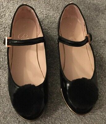 0c8ff6478 ❤️TED BAKER Girls Black Patent Shoes Pom Pom Mary Janes UK Kids Size 1❤