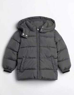 New NWT GAP Toddler Boys Parka Warm Hooded Jacket Size 2 2T Grey