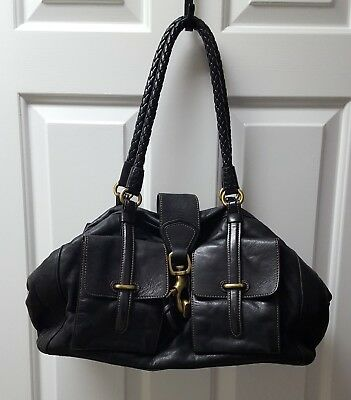 a0a21f966f26 Francesco Biasia Black Leather Purse Lock Satchel Shoulder Large Handbag