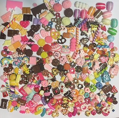 100 Pcs Assorted Kawaii Resin Sweet Cabochons Slime Charms Fun Free Ship For U.S