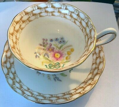 ROYAL ALBERT TEA CUP AND SAUCER  FLORAL BOUQUET 1940s PATTERN BASKETWEAVE