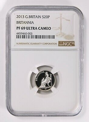 Great Britain 2013 Britannia 20 Pence 1/10 Oz. Silver Proof NGC PF69 Ultra Cameo