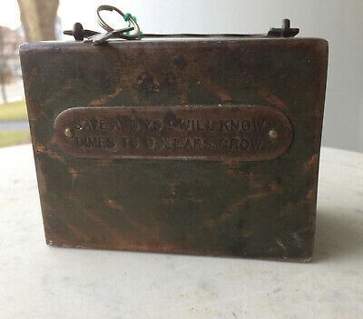 "Antique Strong Traveling Safe Bank w/ Key ""Save And You Will Know Dollars Grow"""
