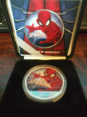 2017 1 OZ OUNCE SILVER SPIDERMAN COIN .999 COLORIZED  COA only 500 made nice