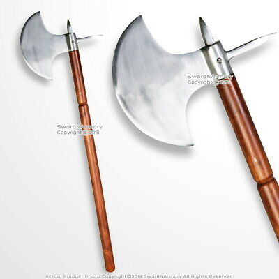 """35"""" Iron Polished Medieval Viking Battle Axe with Spike LARP Renaissance Costume"""