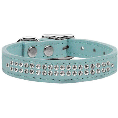 Two Row Clear Jeweled Leather Dog Collar