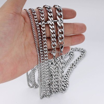 18-36'' MENS Stainless Steel 3/5/7/9/11mm Silver Tone Cuban Curb Chain Necklaces